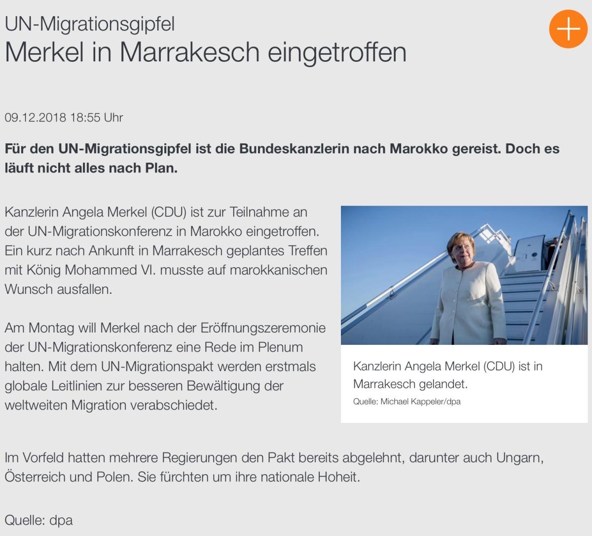 """#MERKEL-, DIE """"#KANZLERIN DER AUSLÄNDER"""", IST IN #MARRAKESCH EINGETROFFEN"""